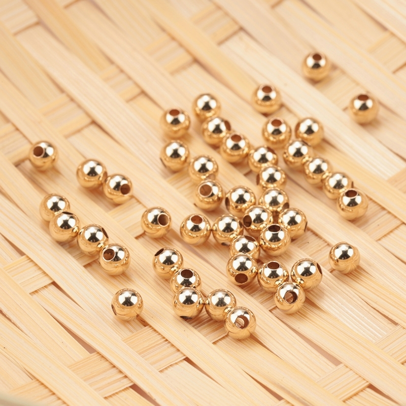 Wholesale 100PCS 2-4MM 14K Gold beads round smooth jewelry beads for bracelet&necklace making 14K Gold jewelry Findings(China)
