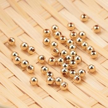цена Wholesale 100PCS 2-4MM 14K Gold beads round smooth jewelry beads for bracelet&necklace making 14K Gold jewelry Findings онлайн в 2017 году