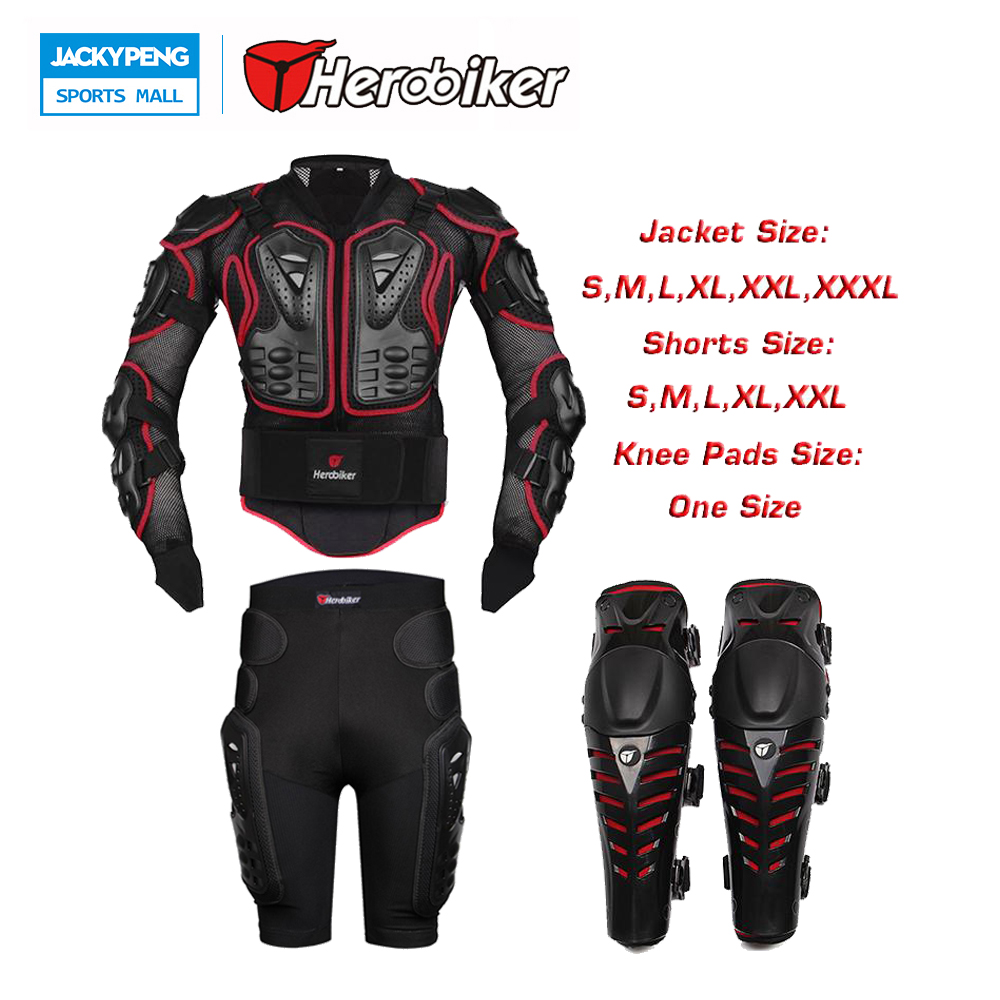 HEROBIKER Motorcross Racing SKI Body Protection Back Support Armor Jacket + Protective Gears Hip Pad Shorts + Knee Pad Protector herobiker black motorcycle racing body armor protective jacket gears short pants motorcycle knee protector moto gloves