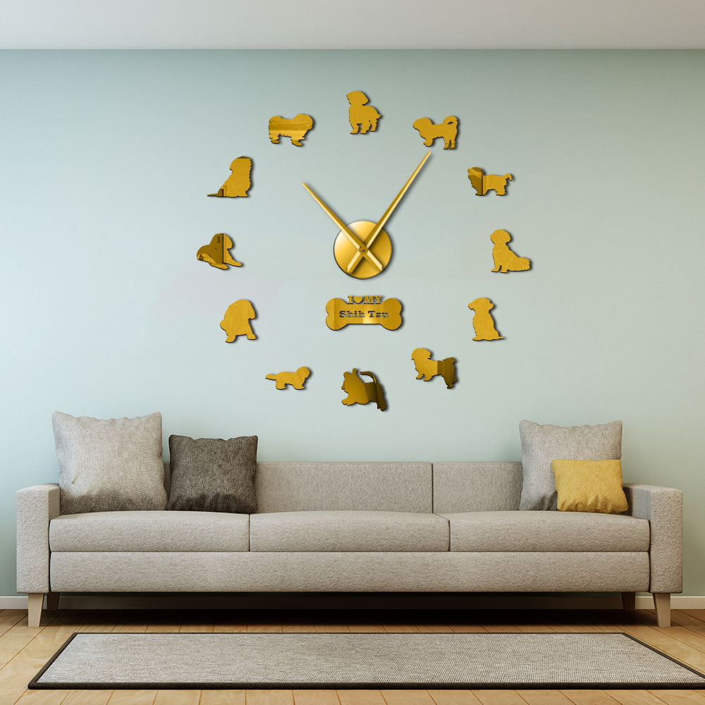 Shih Tzu Frameless Big Wall Clock Dog Pet Home DECOR Chinese Lion Dog DIY Wall Art Stickers Chrysanthemum Dog Clock Wall Watch