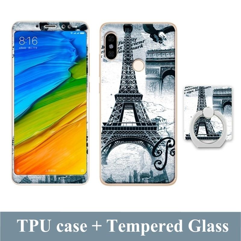 Pouzdro pro Xiaomi Redmi Note 5 Pro Global A2 Case Cartoon Tempered Glass Film Finger Ring Cover pro Xiaomi Mi 6x Mi A2 Case