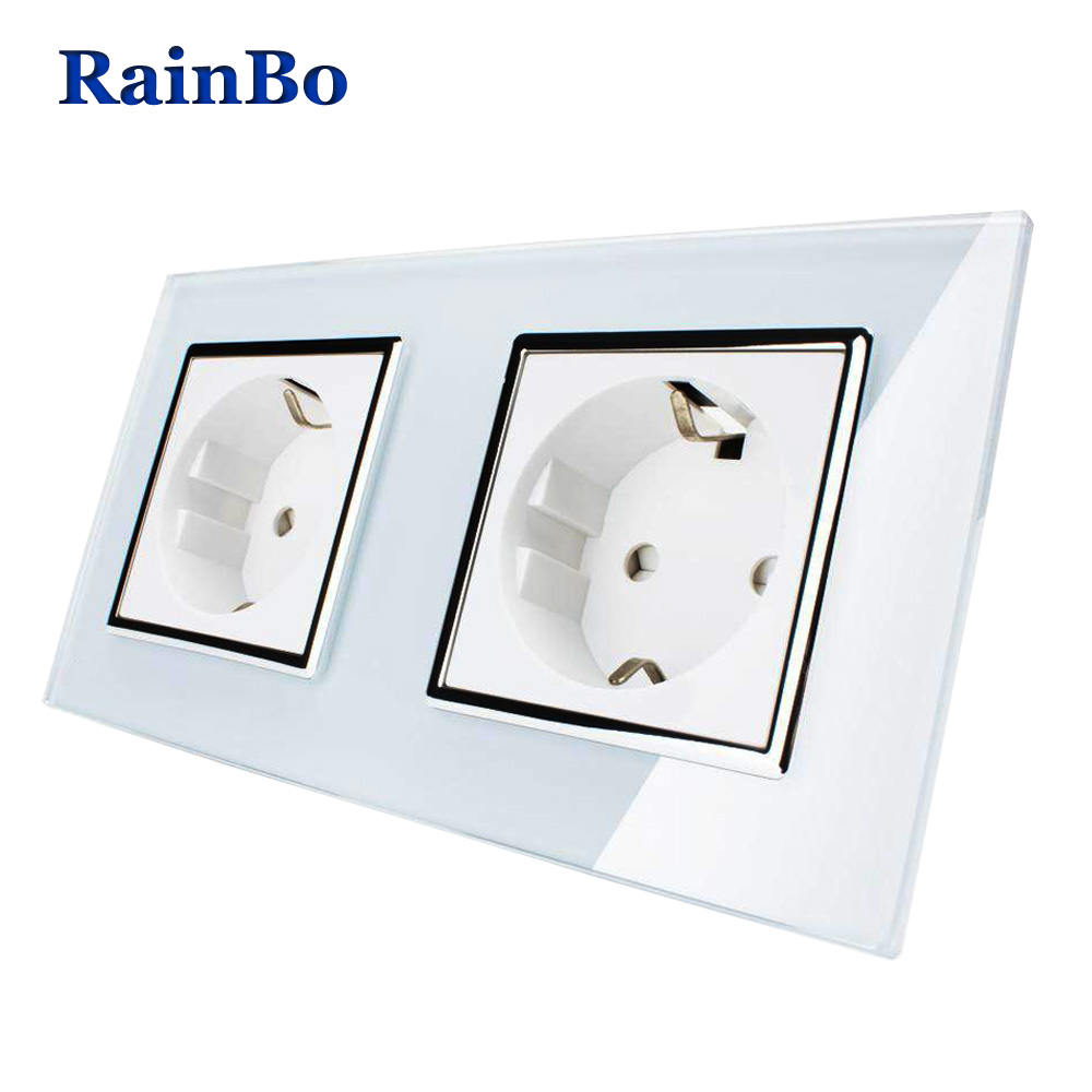 RainBo Wall EU Power Wall Socket Standard Power Socket White Glass Panel AC Wall Power smart outlet Free Shipping A28E8EW/B rainbo brand free shipping wall power socket new outlet france standard crystal glass panel ac110 250v 16a wall socket a18fw b