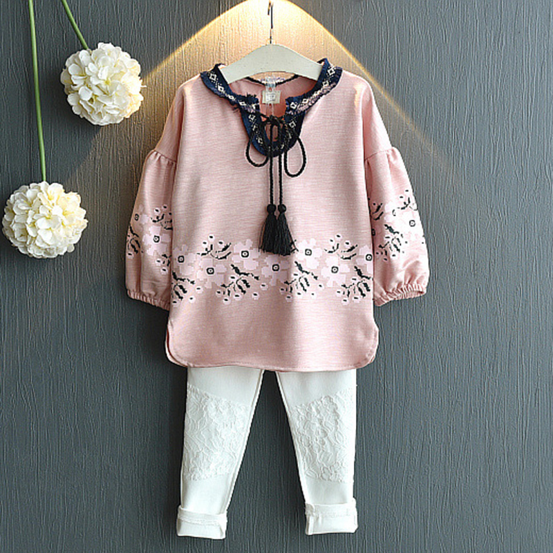 2019 Autumn Informal Women Clothes Units Pink Lengthy Sleeve T-Shirt And Pant Kids Fits 2Pcs Children Garments For 3-7Y New Arrival Clothes Units, Low-cost Clothes Units, 2019 Autumn Informal...