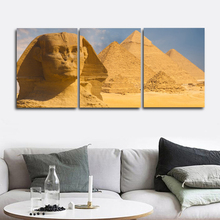 Laeacco Canvas Painting Calligraphy 3 Panel Places of Interest Posters and Prints Pyramid Wall Picture Living Room Home Decor