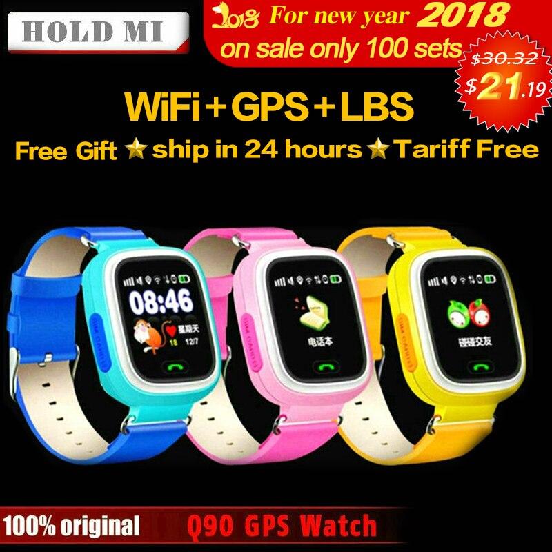 Удерживайте Ми Q90 GPS телефон позиционирования Мода Дети часы 1.22 дюймов Цвет Сенсорный экран WI-FI SOS Smart часы Детские Q80 Q50 q60 найти
