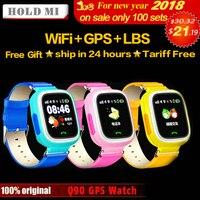 Segure Q90 Mi Telefone GPS Posicionamento Crianças Da Forma do Relógio de 1.22 polegada cor da Tela de Toque WIFI SOS Relógio Inteligente Bebê Q80 Q50 Q60 encontrar