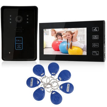"High Tech 7"" Video Door Phone Intercom Wired doorbell camera with IR Camera Monitor Electric Strike Lock RFID Keyfobs"