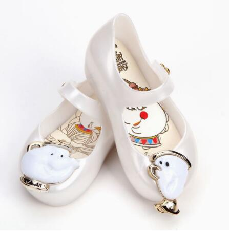 Mini Melissa Teacup Sandals 2018 New Kids Sandals Beauty Beast Girls Shoe Jelly Sandals Non-slip Kid Shoes ...
