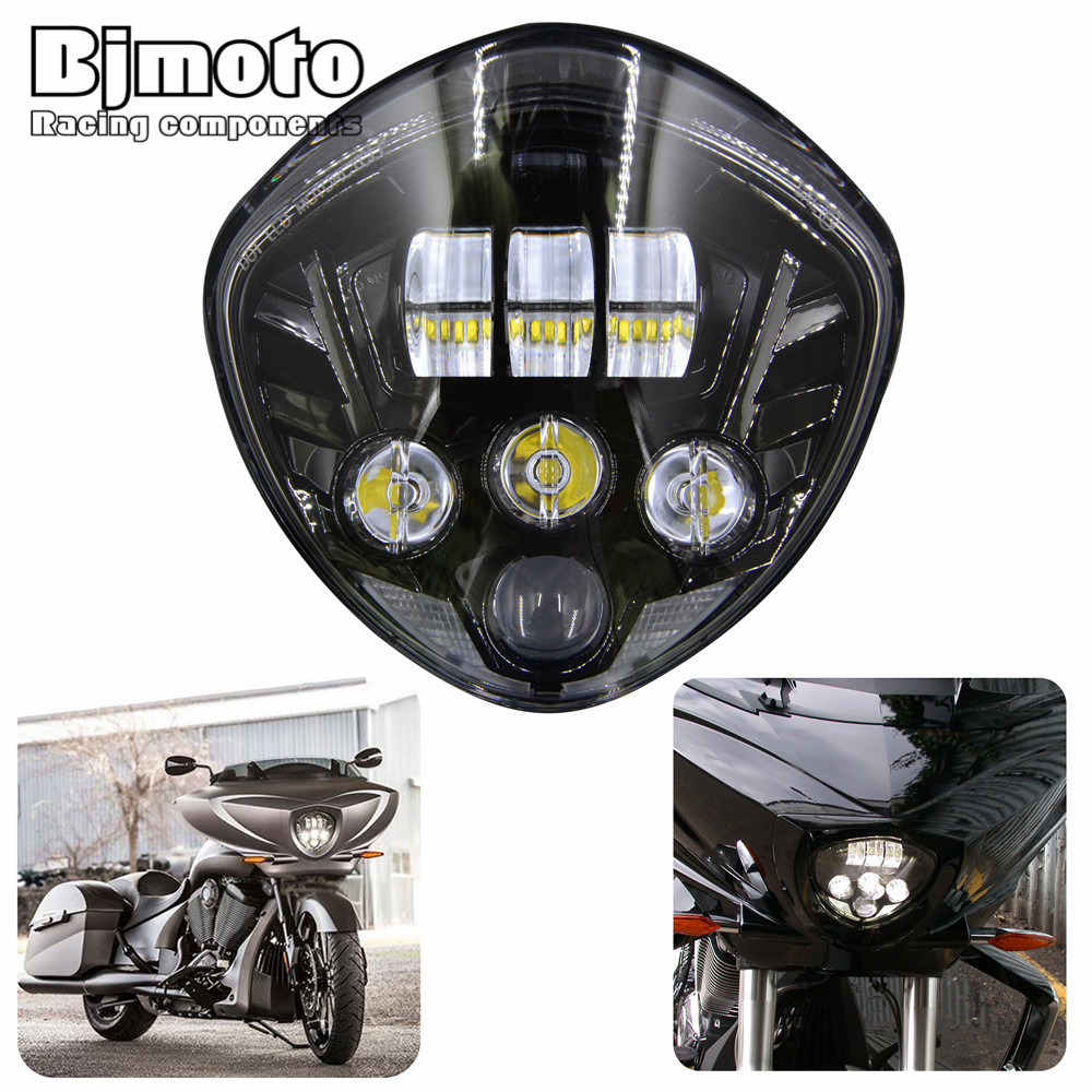 HL-027 DOT Victory Motorcycle 40W LED Headlamp H4 H/L Beam Cross-Country For 2007-2016 Cruisers With Bullet Style Headlight bjmoto emark motorcycle led headlight high intensity cross country led hi lo headlights kit 60w for victory cruisers 2007 2016
