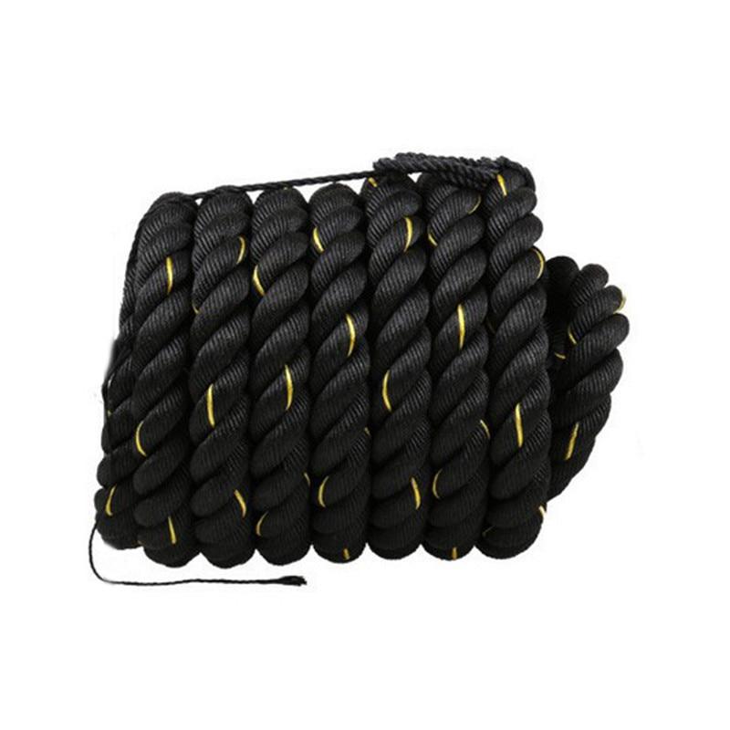 12 m/15 m dacron material pesado ouro preto batalhando corda treinamento de força do corpo físico esporte fitness exercício workout corda - 6
