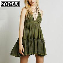 Womens Summer Boho Mini Dress Bohemian Halter Ruffle A-line Chic Sundress Sexy Backless V-neck Beach Holiday Dresses S-XL ZOGAA