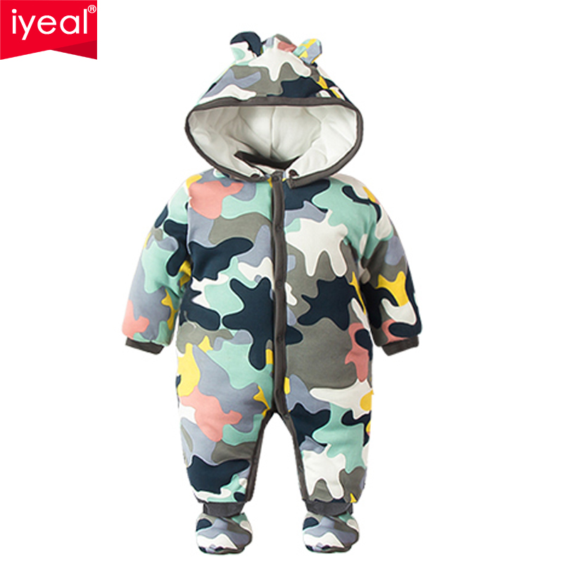 IYEAL 2018 NEW Baby Rompers Winter Thick Warm Baby boy Clothing Camo Long Sleeve Hooded Jumpsuit Kids Newborn Outwear for 0-12M