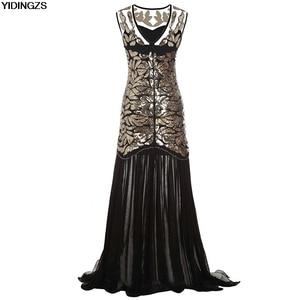 Image 2 - YIDINGZS Womens Vintage Evening Dress Gold Sequins Beading Long Evening Party Dress GA11