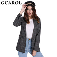 GCAROL Spring Women Double Breasted Blazer Notched Collar Plaid Pattern Slim OL Business Suit Elegant Outfits