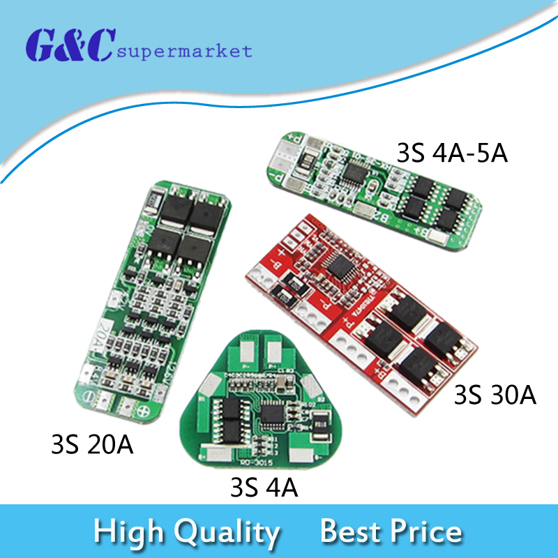 4//5//20 30A 3S 18650 Li-Ion Battery Charger PCB BMS Protector Board Battery