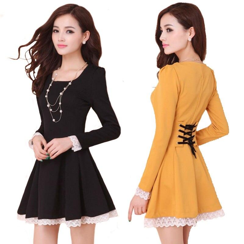 Buy Summer Dresses 2016 New Fashion Women Casual Dress Ladies Back Cross Lace