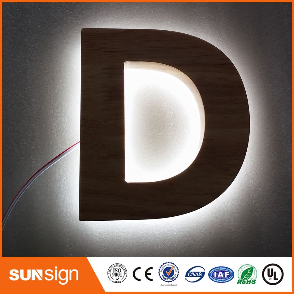 3D Outdoor Led Illuminated Stainless Steel Backlit Signs Letters