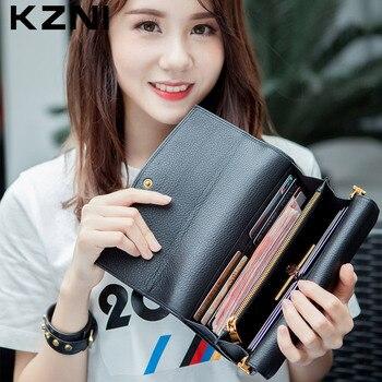 KZNI Genuine Leather Handbag Women Purse Leather Shoulder Small Bags Day Clutches Bags for Girls Sac a Main Bolsas Femini 2148
