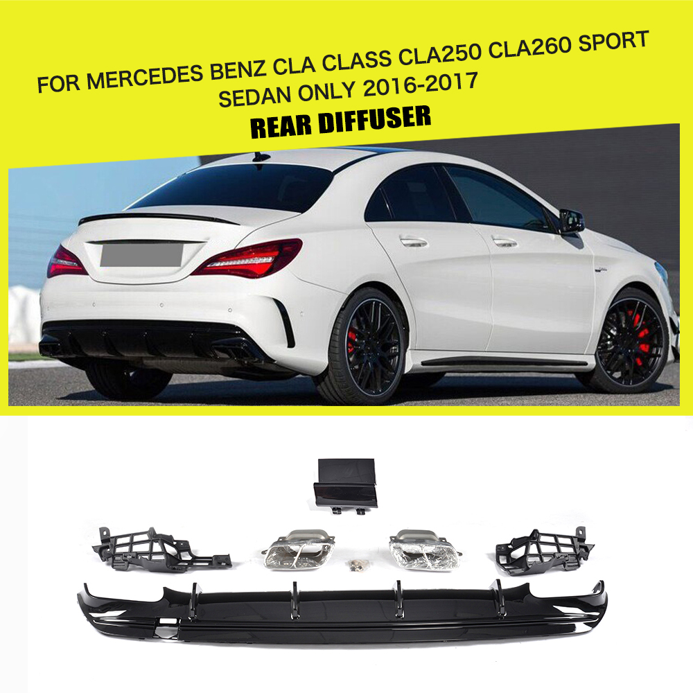 PP Car Rear Diffuser With Exhaust Muffler For Mercedes