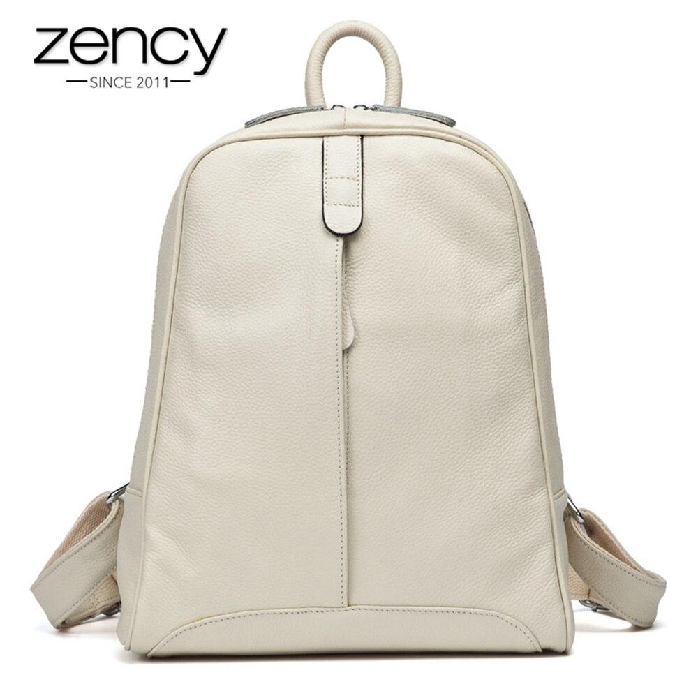 Zency 100% Echtem Leder Mode Frauen Rucksack Casual Reisetasche Adrette Mädchen der Schul Notebook Laptop Rucksack
