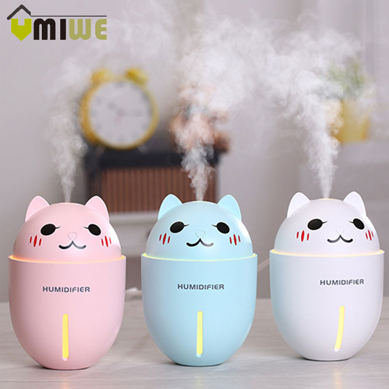 3 In 1 USB Air Humidifier Ultrasonic Cool-Mist Adorable Pet Mini Humidifier with LED Night Light and USB Fan for Home Car 320ML цена и фото