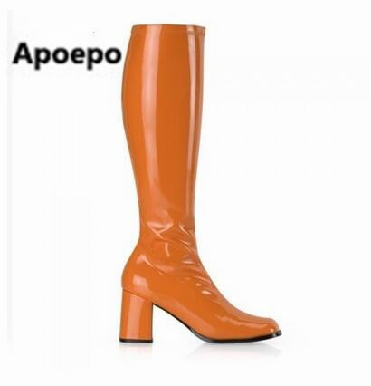 Apoepo European style winter motorcycle boots 14 colors 7 cm high heels mid-calf boots PU leather women boots big size 35-43 shiningthrough size 33 43 winter women boots thick high heels round toe platform shoes solid pu leather mid calf boots