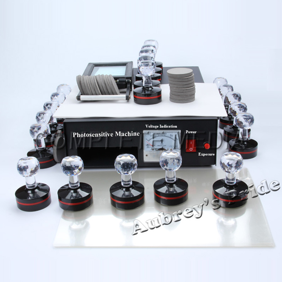 2 Exposure Lamps Flash Stamping Machine Kit Selfinking Make Seal 10 Stamps 10 Isolating Film Paper