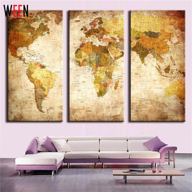 World Map Canvas Paintings Wall Pictures For Living Room Modern No ...