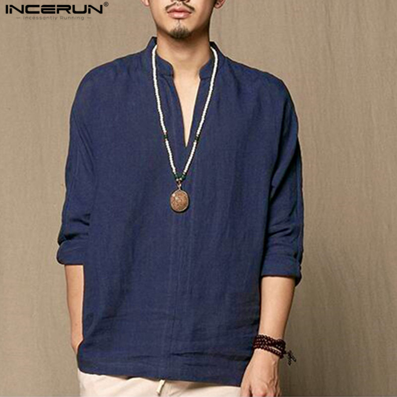 INCERUN Casual Cotton Linen Men Shirt Long Sleeve Spring Summer Leisure Shirts Vintage Retro Chinese Style Men Camisa Masculina