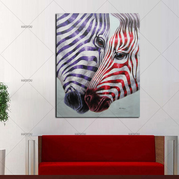 Hand Painted modern colorful on canvas animal art living room zebra oil painting wall pictures living room home wall decor