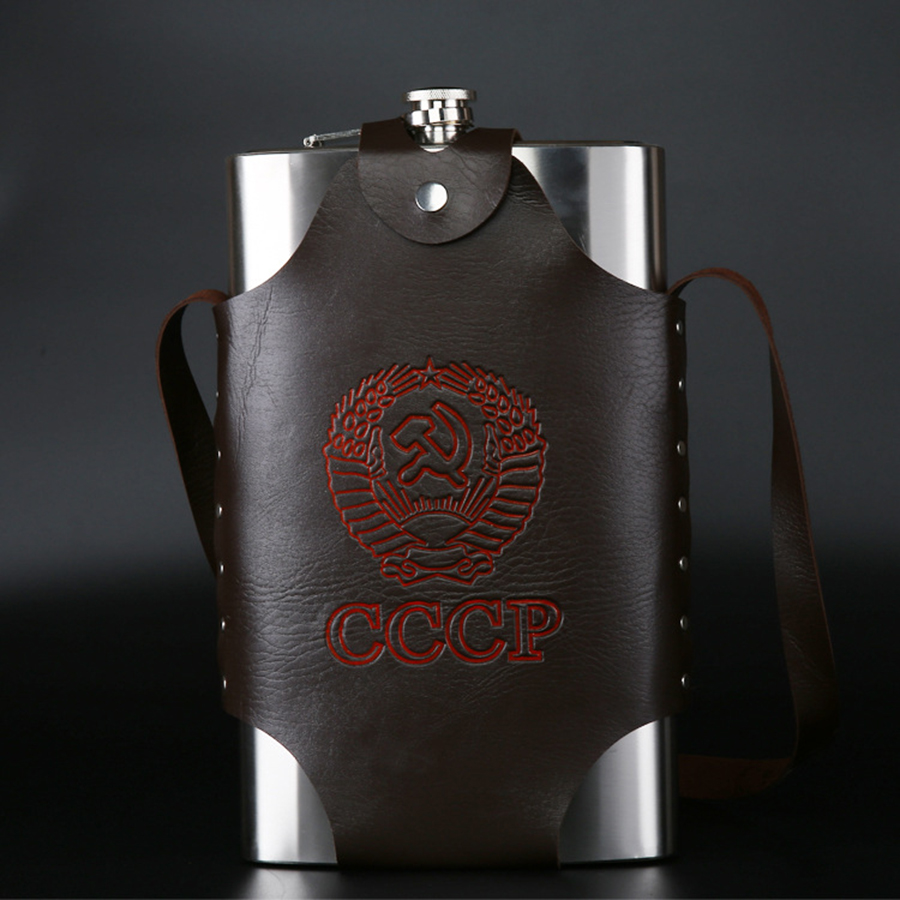 Large Capacity 64 Oz Leather Thickening 304 Stainless Steel Proof Kettle Pot Hip Flask Whiskey Wine Bottle Gifts CCCP For Alcoho