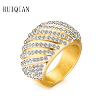 Titanium acciaio inox anelli di nozze per le donne dell'annata grande anello in oro cubic zirconia anelli anel feminino mujer aneis bijoux ruier406