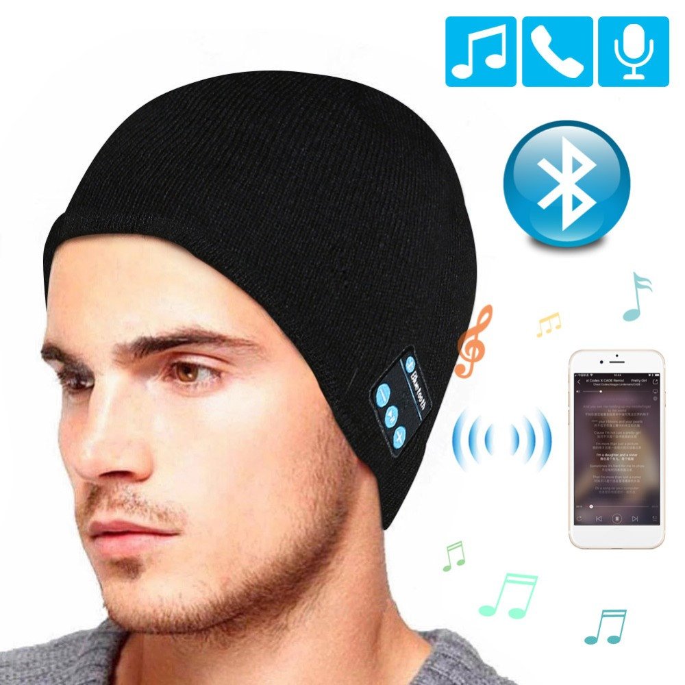 Auricolare Bluetooth di Musica Cappello di Inverno Cap Cuffia Senza Fili  Auricolare Con Il Mic Cappello d75239a22b46
