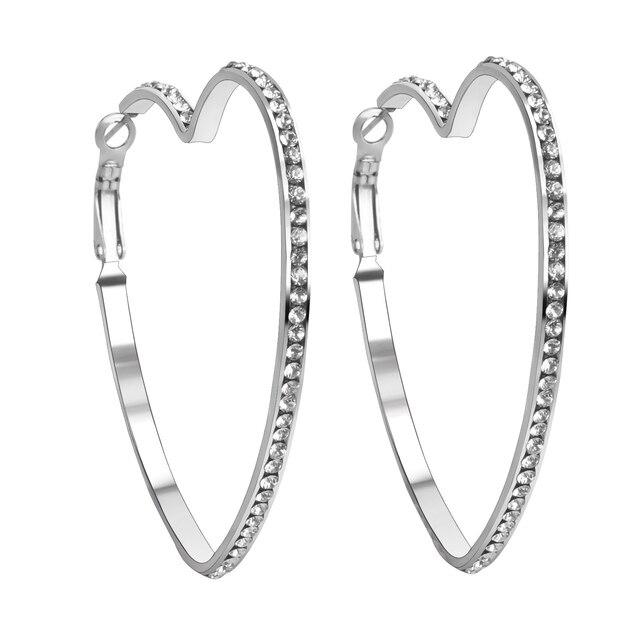 New Style Heart Shaped Hoop Earrings With Crystal Women Earring Stainless Steel