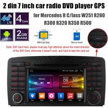 Android 6.0 Car DVD GPS player for B-ENZ R C/lass W251 R280 R300 R320 R350 R500 WiFi support rear camera
