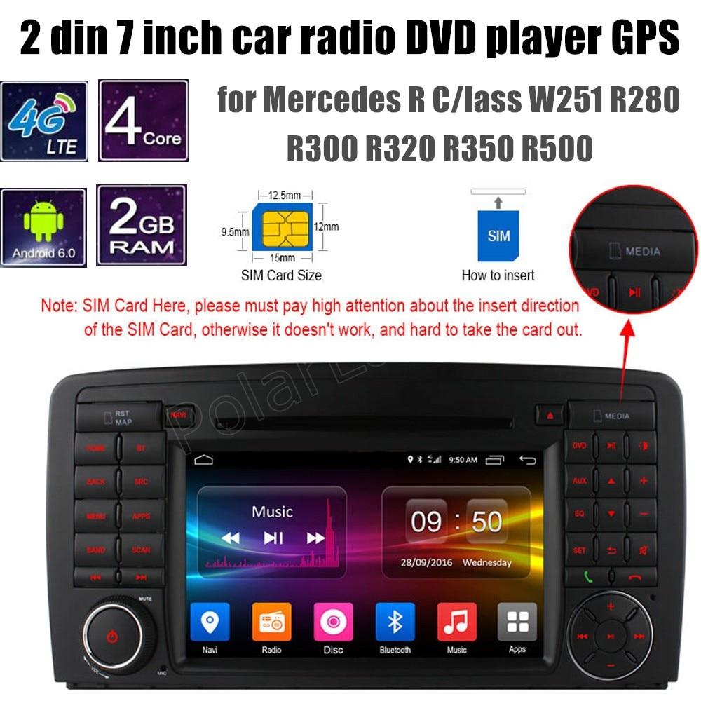 Lecteur DVD GPS de voiture Android 6.0 pour B-ENZ R C/indeau W251 R280 R300 R320 R350 R500 caméra arrière de soutien WiFi