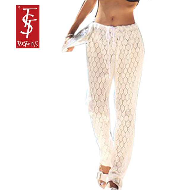 Women White Lace Beach Pants Boho Casual Loose Long Joggers Sheer