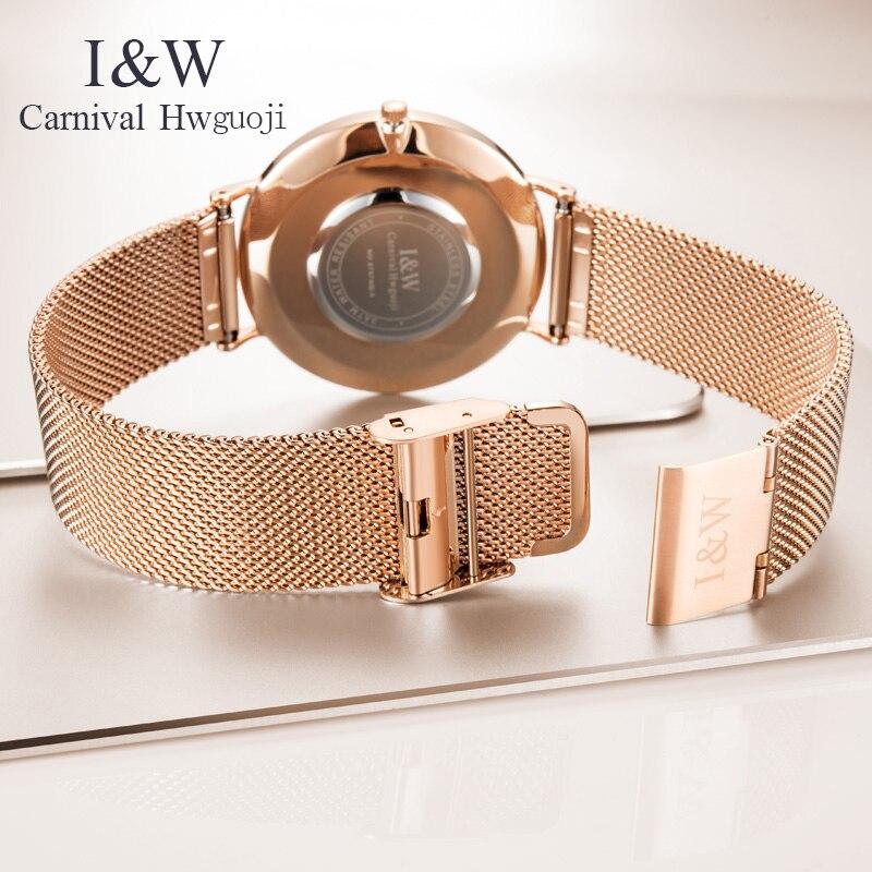 Carnaval nuevo Casual malla Correa moda cuarzo rosa oro reloj hombres relojes marca superior reloj impermeable de lujo - 3