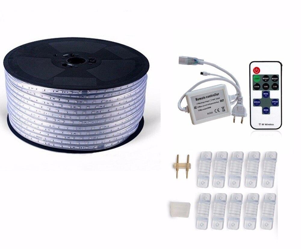 220 V 110 V Светодиодные ленты 5050 50 м 100 IP67 Водонепроницаемый RGB двойной Цвет веревка для наружного освещения с радиочастотным пультом дистанционного управления - 4