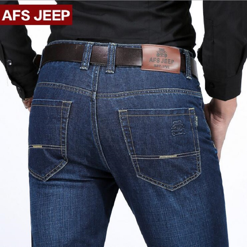AFS JEEP Men's Jeans Men Biker Jeans Lightweight Straight Style Spring /Autumn Male Pants Pockets Plus Size 29-40 Jeans homme 2017 spring autumn lightweight men