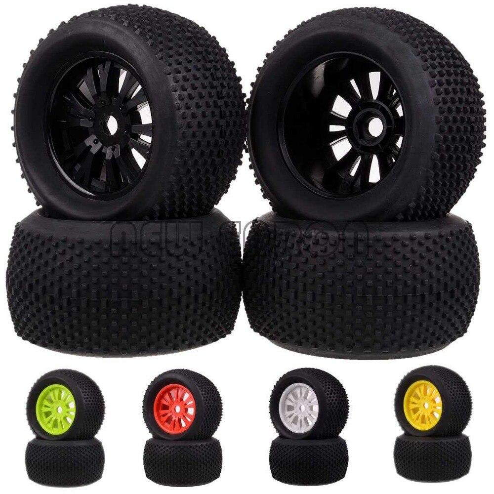 4PCS RC 1:8 Off Road Monster Truck 17mm Hub Wheel Rim & 140mm Tires,Tyre 62012 2pcs traxxas original 1 5 x maxx tires wheels tire tyre for 1 5 traxxas x maxx rc monster truck model 7772