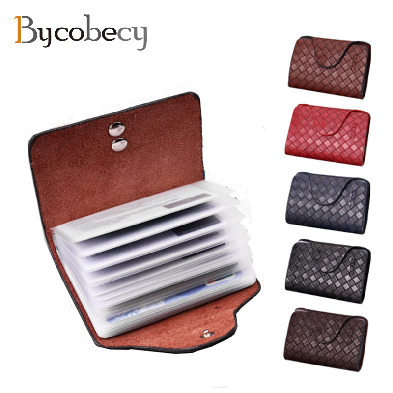 BYCOBECY Genuine Leather Unisex Business ID Credit Card Holder Wallet Big Capacity Bank Credit Card Case Hold 20 Card motoo motorcycle new cnc aluminum fuel gas caps tank cap tanks cover with rapid locking for kawasaki z750 z1000 zx 10r zx 9r