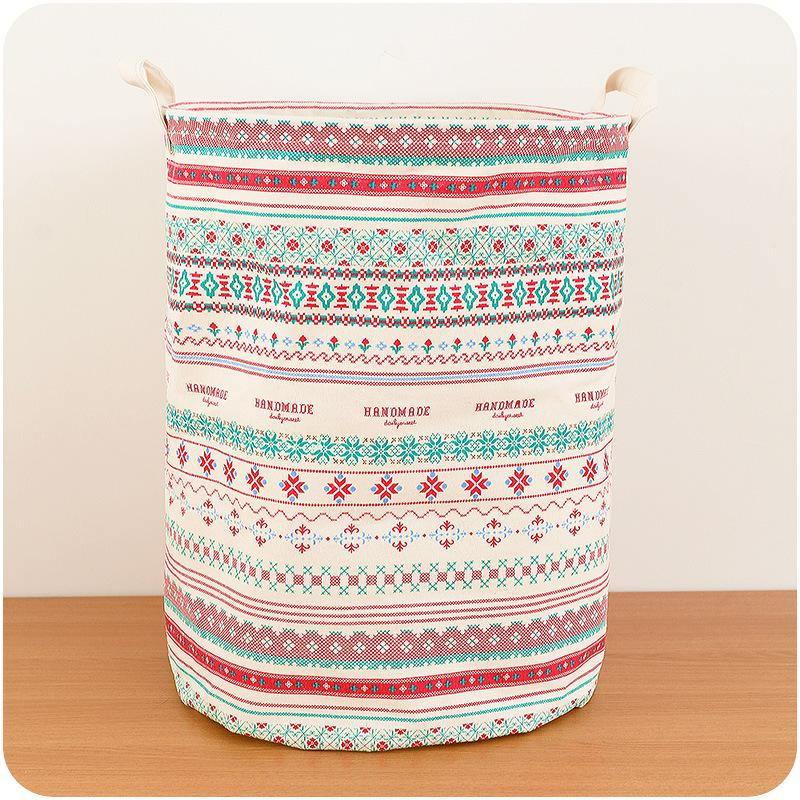 Linen Large Capacity Waterproof Folding Laundry Hamper Bag Cartoon Anchors Trojans Stripe Drawstring Clothes Storage Baskets