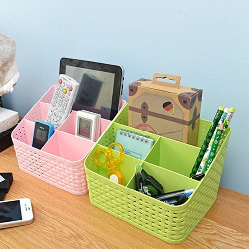 1pc Hollow Sub-grid Plastic Desktop Storage Box Collection Basket Makeup Box 5 Grid Plastic Storage Basket Multi-color