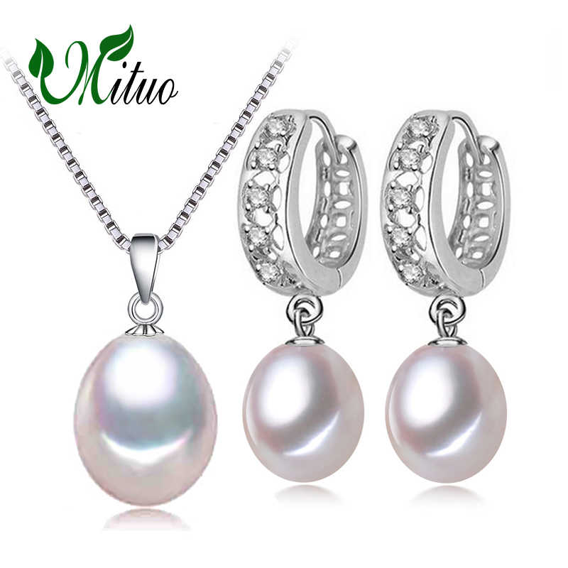 MITUO Pearl Pendant Necklace Freshwater Earrings 925 Sterling Silver CLASSIC pearl  jewelry sets charm retro earrings for women