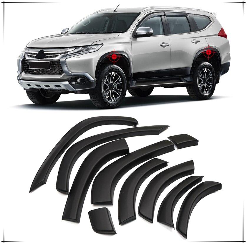 For Mitsubishi Pajero Montero Shogun Sport 2016 2017 2018 Black Plastic Arch Wheel Fender Flares Cover