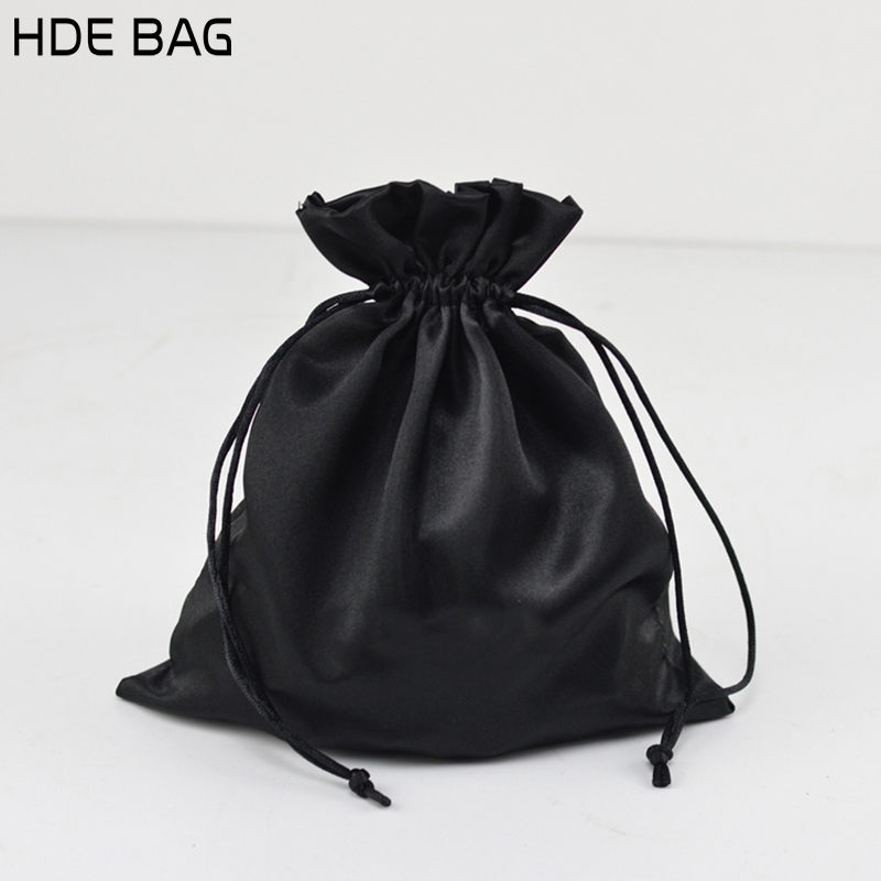 Black Satin Bag Packaging Jewelry/Makeup/Gift/Wedding/Party/Storage/Hair/Shoe Bags Silk Pouches Sachet Pocket Custom Logo Print Shoe Bags