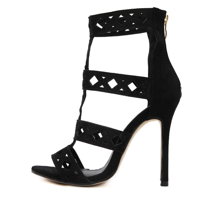 Cut Out High Heeled Sandals 2017 New Rome Gladiator Sandals Women Sexy Black Stiletto Thin Heels Ladies Party Shoes