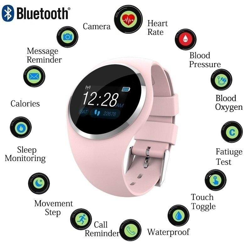 Bracelet intelligent fille moniteur de fréquence cardiaque poignet Bracelet intelligent dame Fitness Tracker montre de pression artérielle