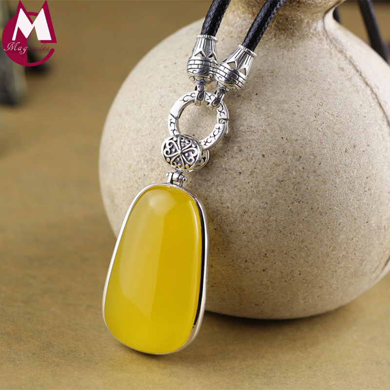Necklace Pendants For Women Big Gemstone 44*25 Oval Yellow Chalcedony Hollow Lotus Leaves Vintage Sterling Silver 925 Jewelry chic rhinestone faux turquoise oval hollow out necklace for women